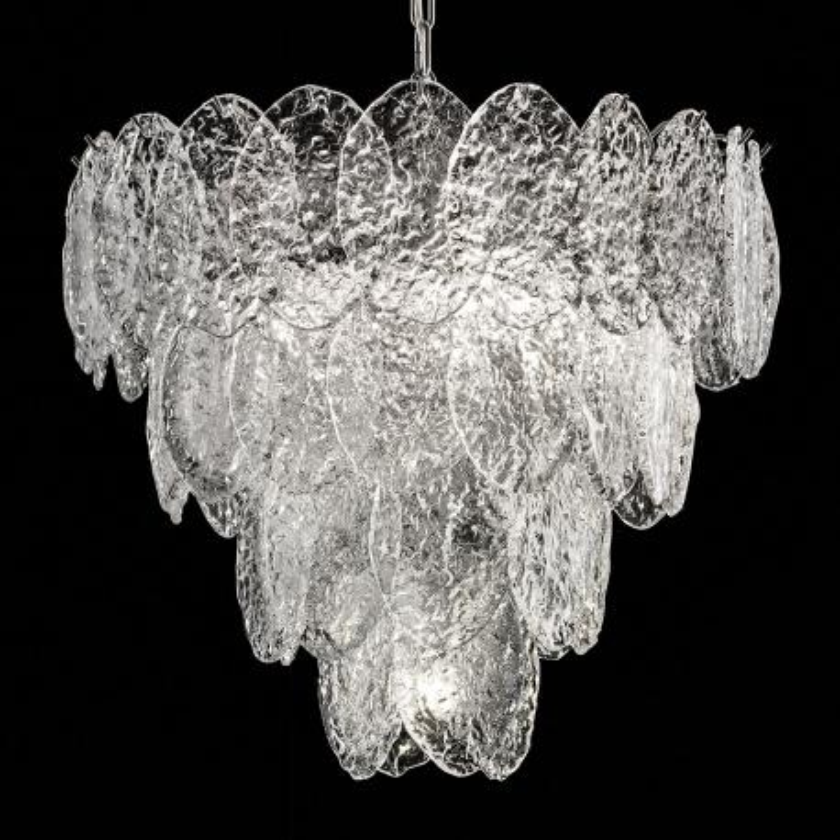 """""""Telma"""" lustre en cristal de Murano - 4 lumières- transparent et chrome"""
