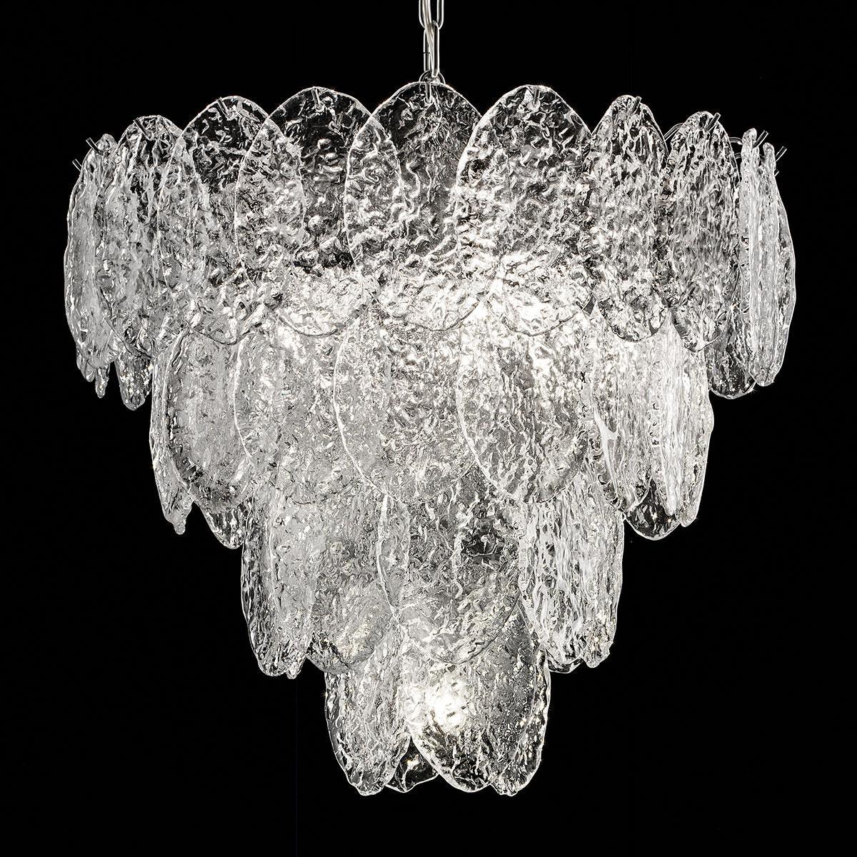 """Telma"" Murano glass chandelier - 4 lights - transparent and chrome"