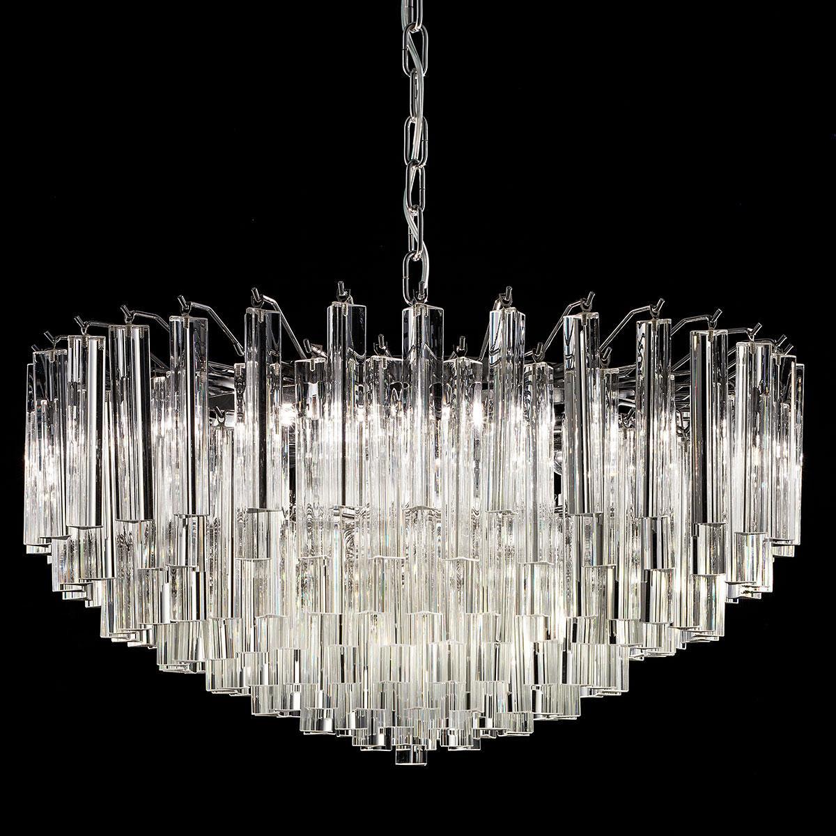 """""""Regina"""" lampara de araña de Murano - 9 luces - transparente y cromo"""