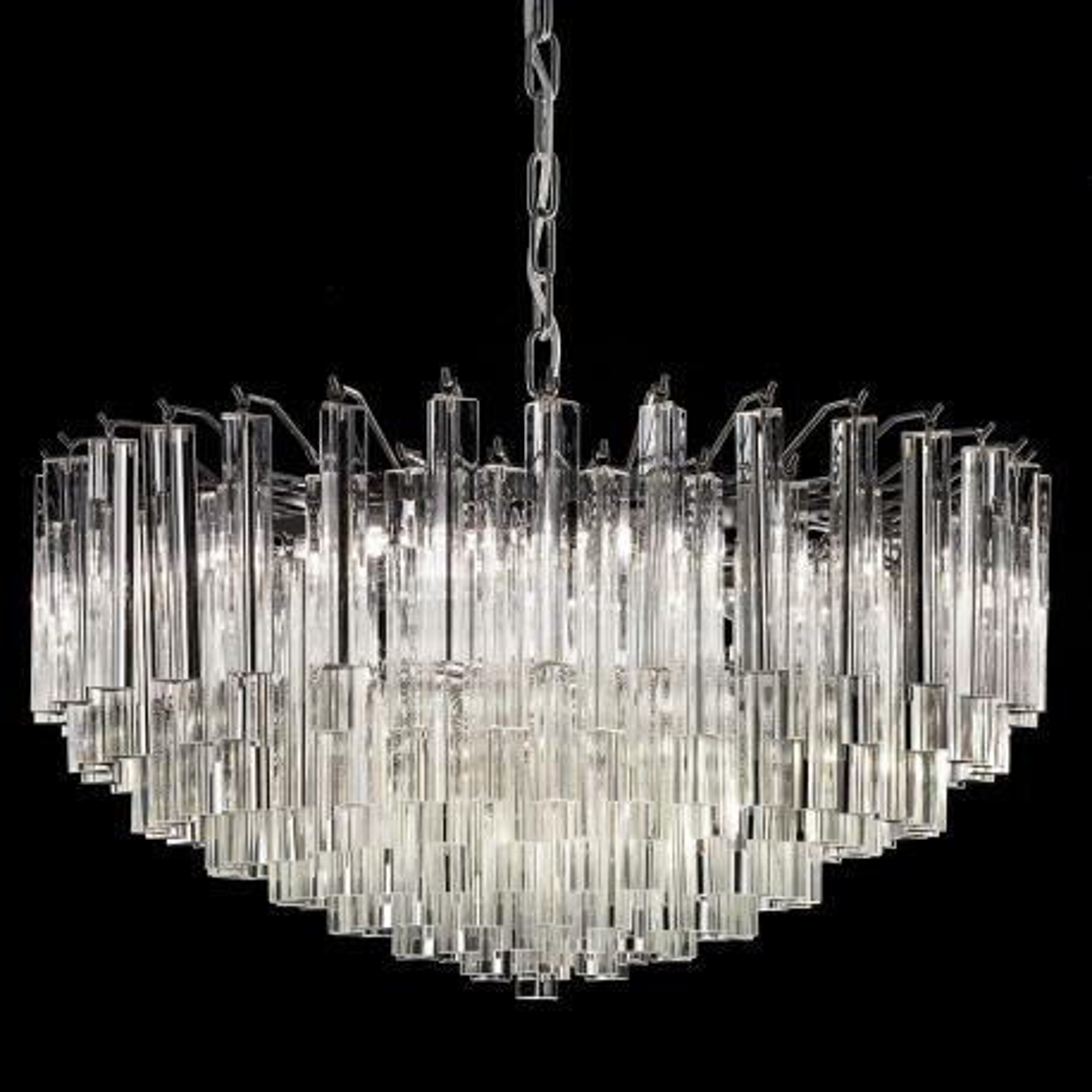 """""""Regina"""" lustre en cristal de Murano - 9 lumières - transparent et chrome"""