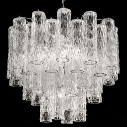 """Tronchi"" large Murano glass chandelier - 7 lights - transparent and chrome"