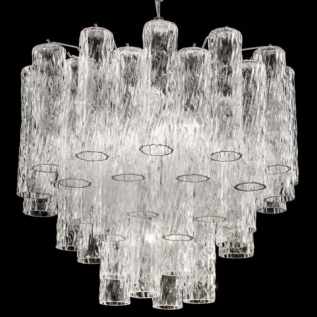"""Tronchi"" araña grande de cristal de Murano - 7 luces - transparente y cromo"