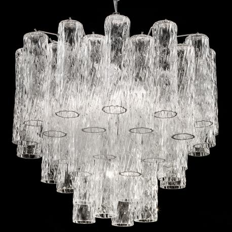 """Tronchi"" grand lustre Murano - 7 lumières - transparent et chrome"