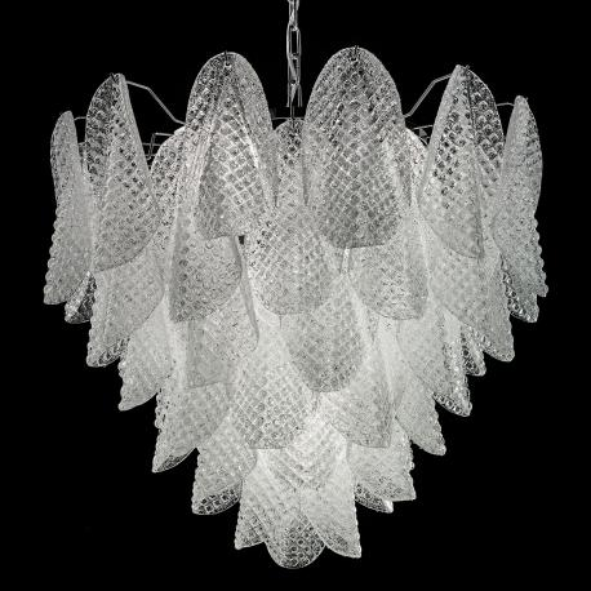 """Rita"" lampara de araña de Murano - 7 luces - blanco y cromo"