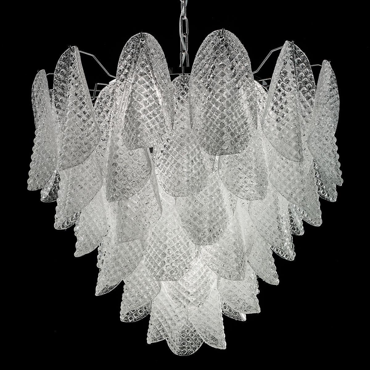 """""""Rita"""" lustre en cristal de Murano - 7 lumières - blanc et chrome"""