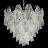 """Rita"" Murano glass chandelier - 7 lights - white and chrome"