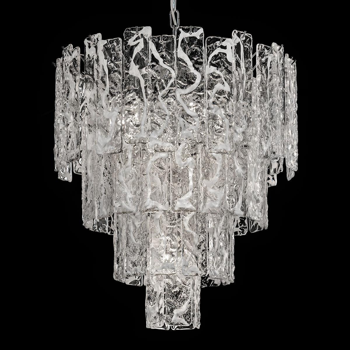 """""""Scarlett"""" lustre en cristal de Murano - 5 lumières - blanc et chrome"""