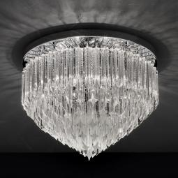 """Harmony"" Murano glass ceiling light - 6 lights - transparent and chrome"