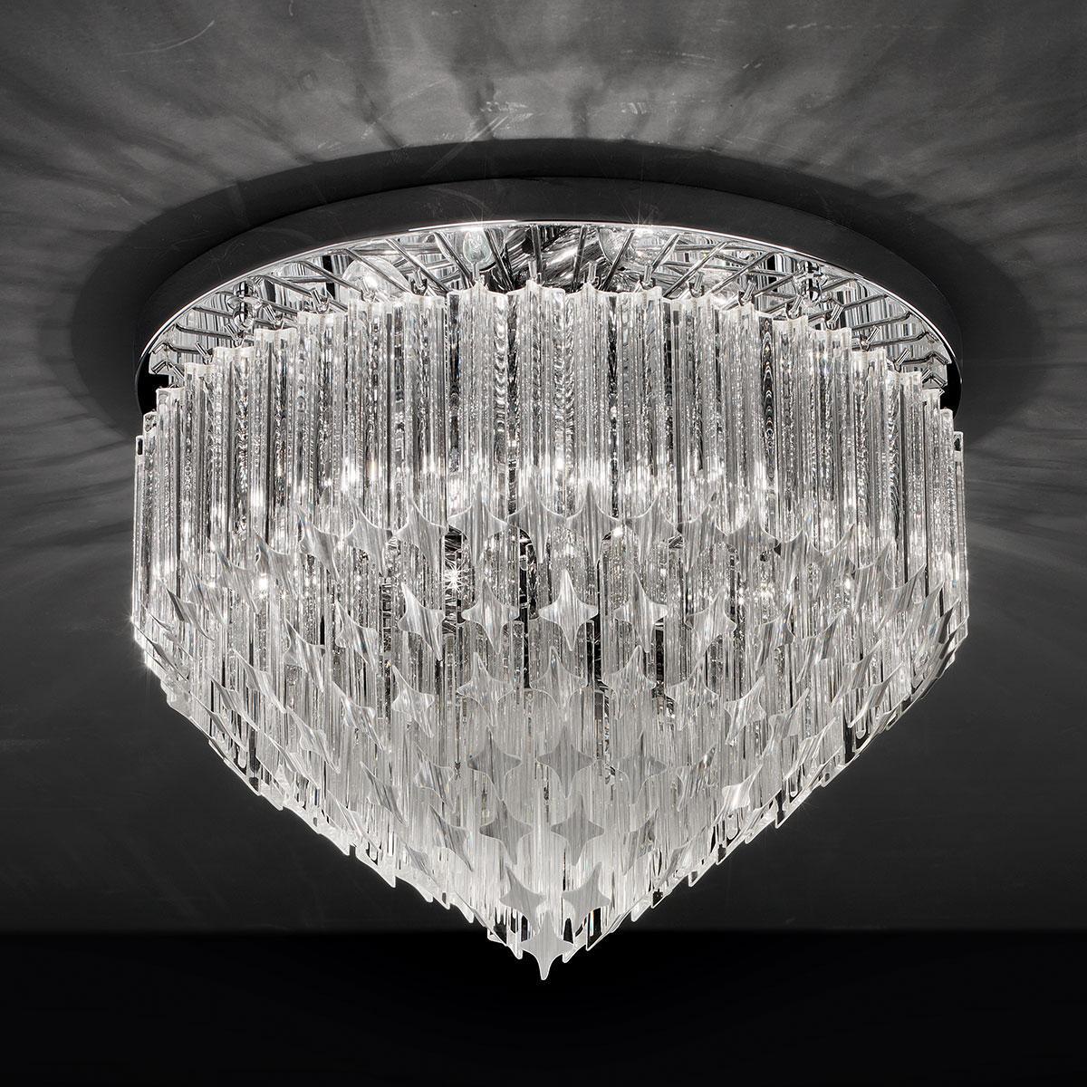 """""""Harmony"""" plafonnier en verre de Murano - 6 lumières - transparent et chrome"""