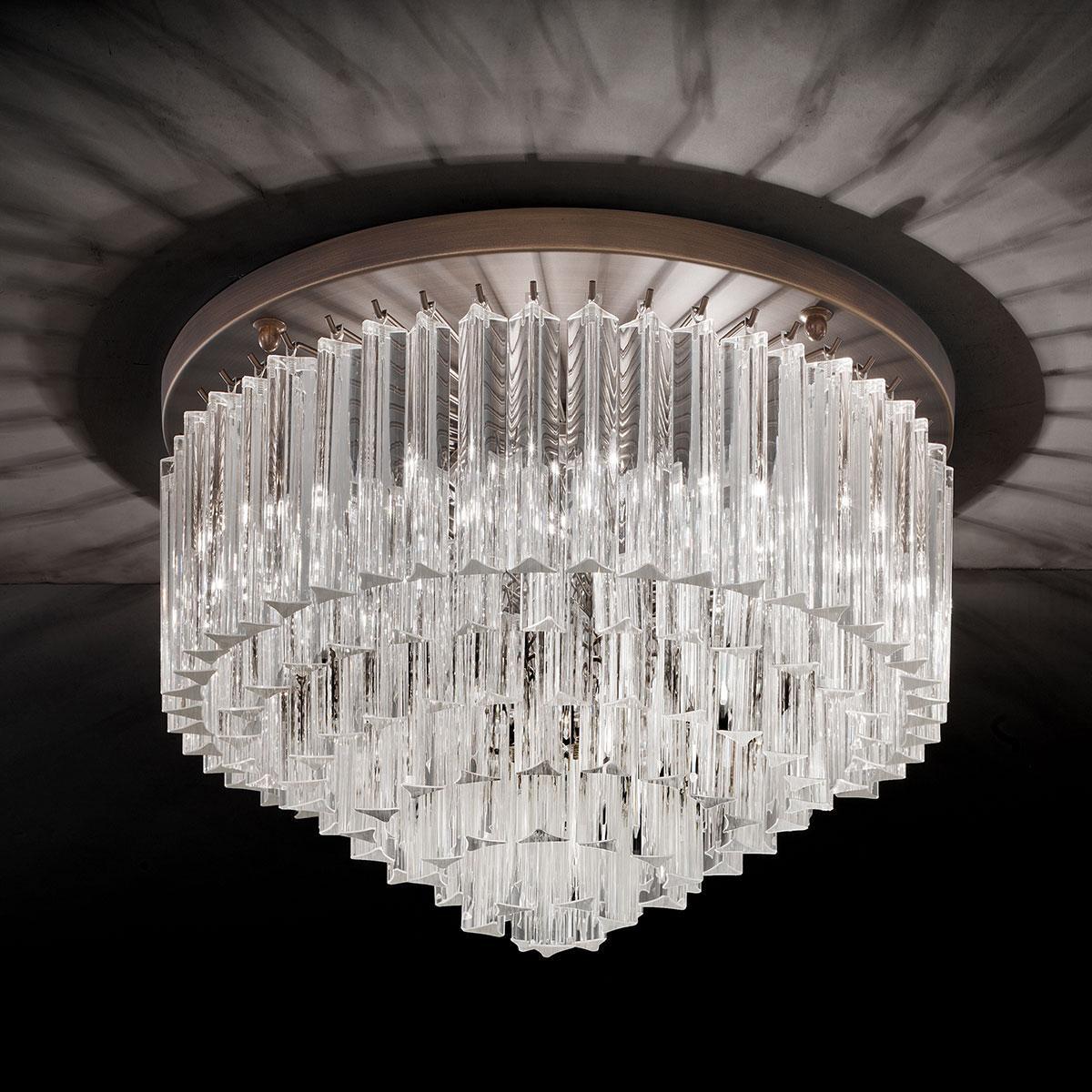 """""""Esmeralda"""" lampara de techo de Murano - 6 luces - transparente y bronce"""
