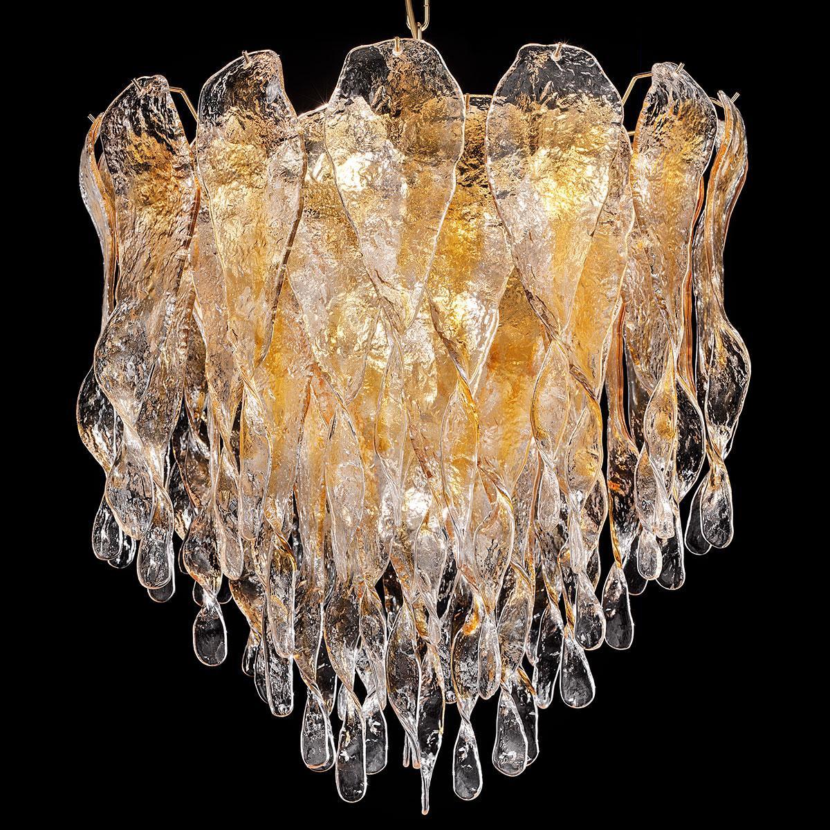 """""""Karin"""" lampara de araña de Murano - 7 luces - ámbar y oro 24K"""
