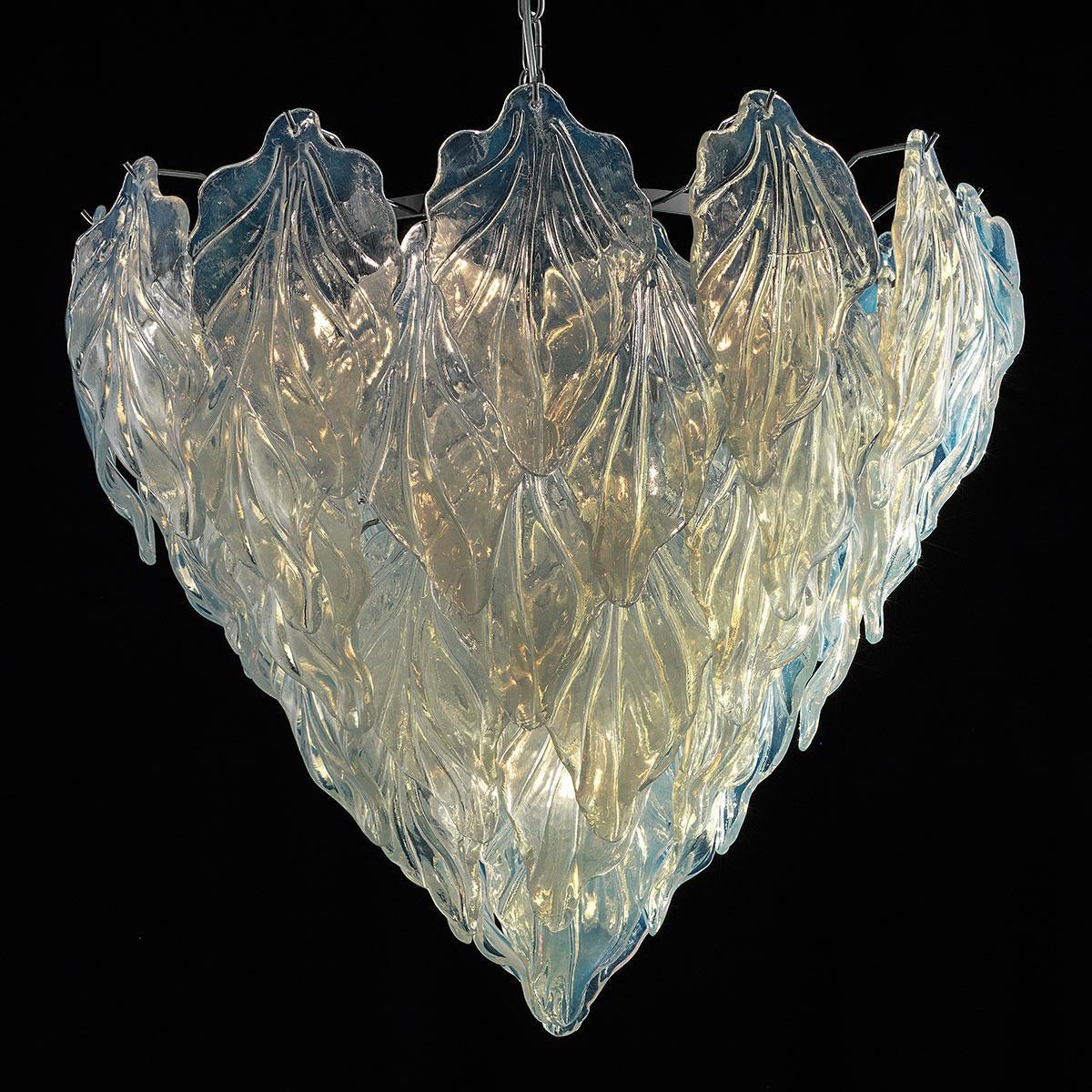 """""""Zyra"""" lustre en cristal de Murano - 7 lumières - opale et chrome"""