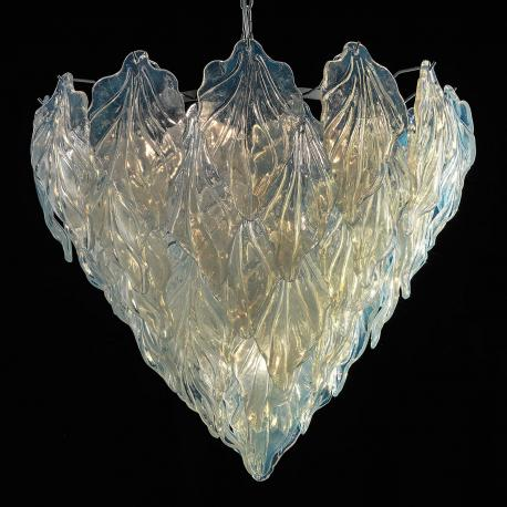 """Zyra"" Murano glass chandelier - 7 lights - opal and chrome"