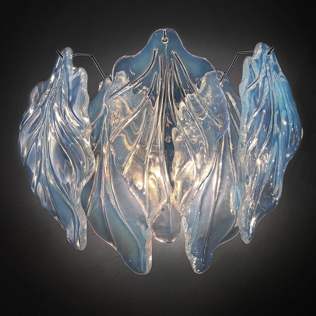 """""""Zyra"""" applique en verre de Murano - 2 lumières - opale et chrome"""