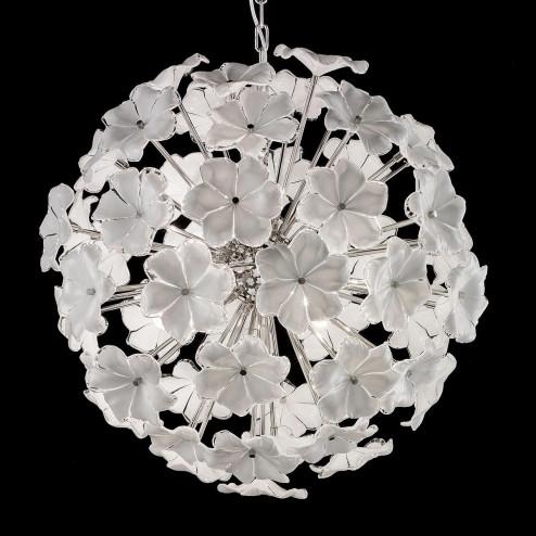 """Lotus"" Murano glass chandelier - 6 lights - white and nickel"