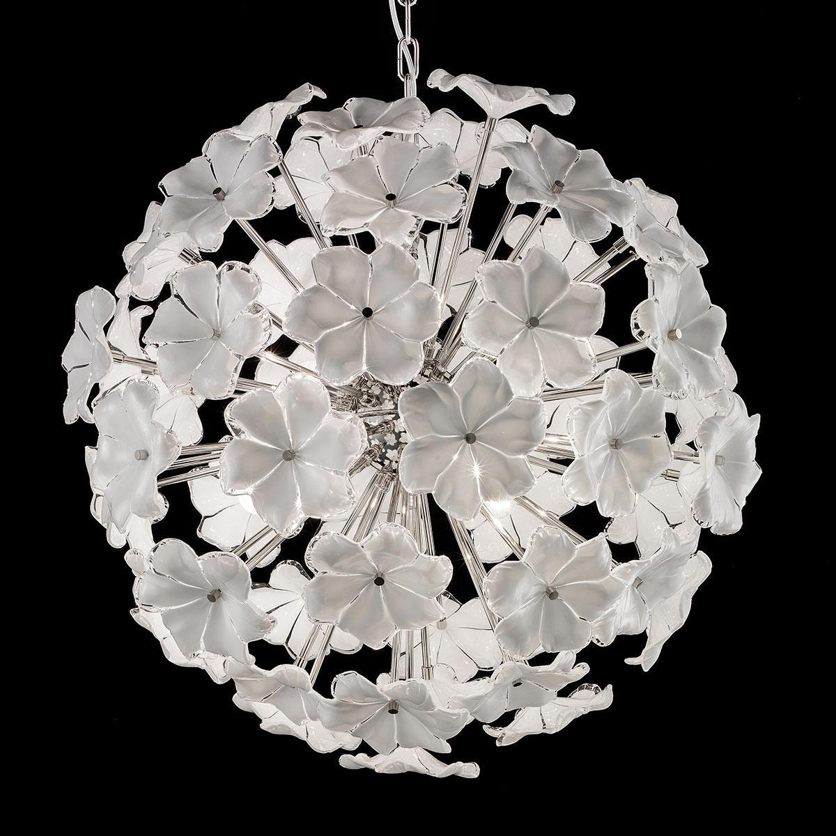"""Lotus"" lustre en cristal de Murano - 6 lumières - blanc et nickel"