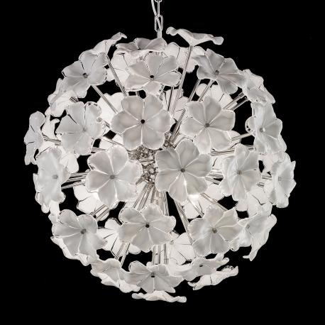 """Lotus"" Murano glass chandelier - 6 lights - white and nickel"