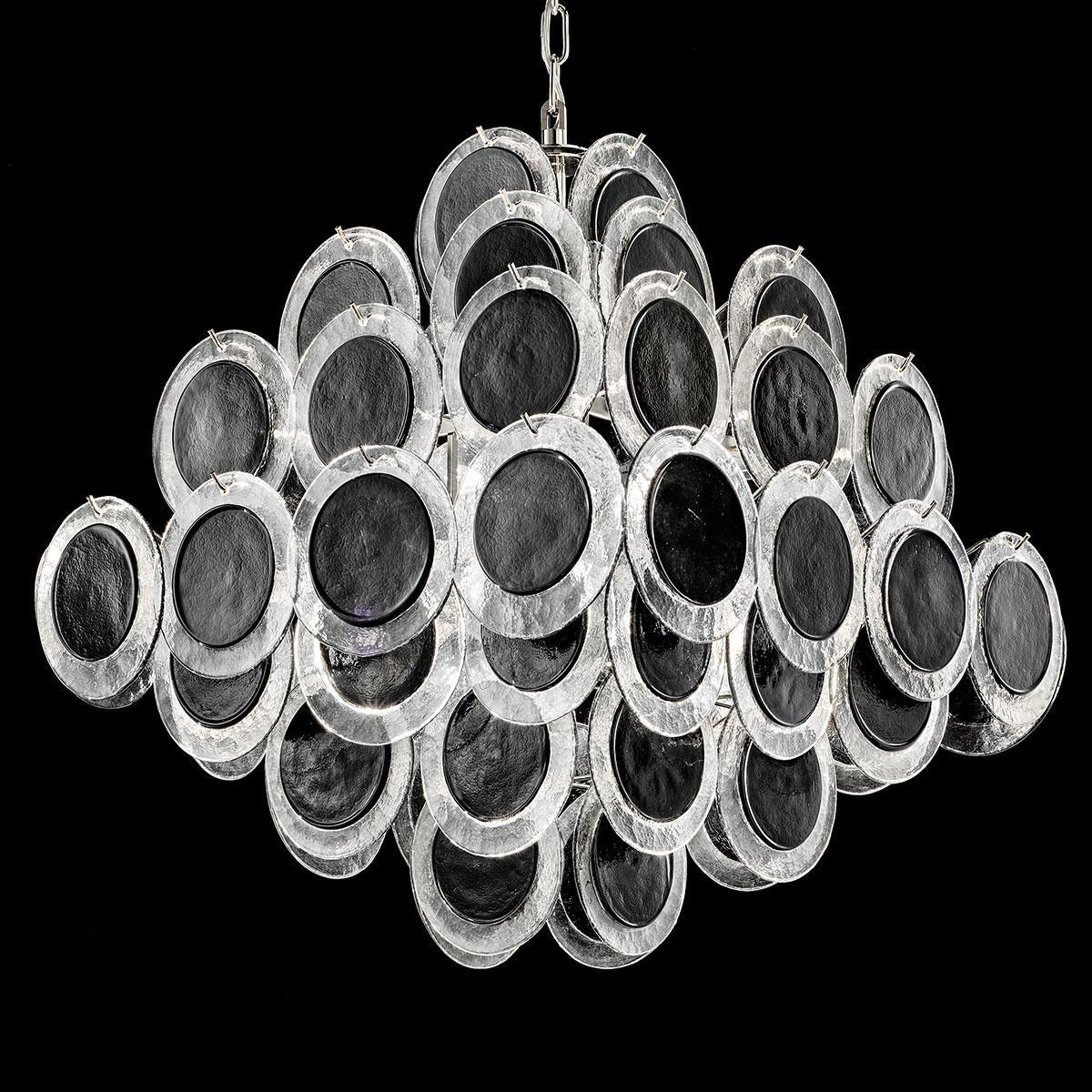 """""""Jennyfer"""" lustre en cristal de Murano - 10 lumières - noir et chrome"""