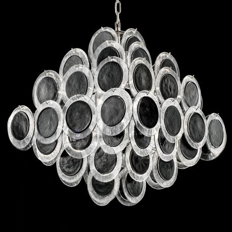 """Jennyfer"" Murano glass chandelier - 10 lights - black and chrome"