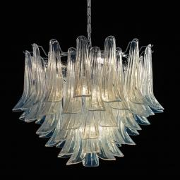 """""""Mildred"""" Murano glass chandelier - 7 lights - opal and chrome"""