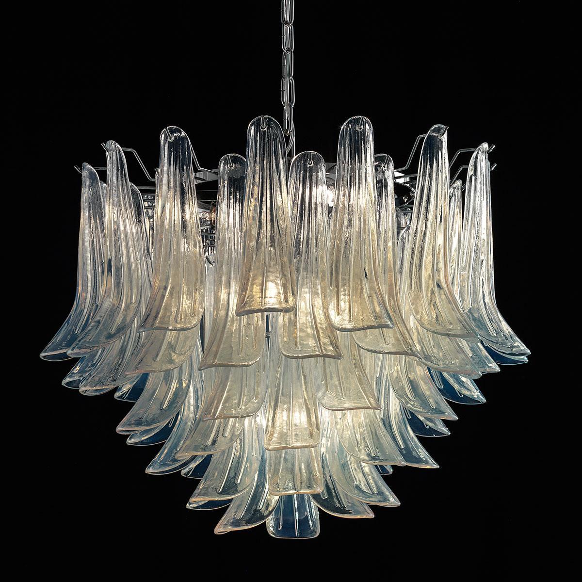 """""""Mildred"""" lustre en cristal de Murano - 7 lumières - opale et  chrome"""