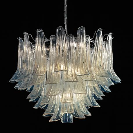 """Mildred"" Murano glass chandelier - 7 lights - opal and chrome"