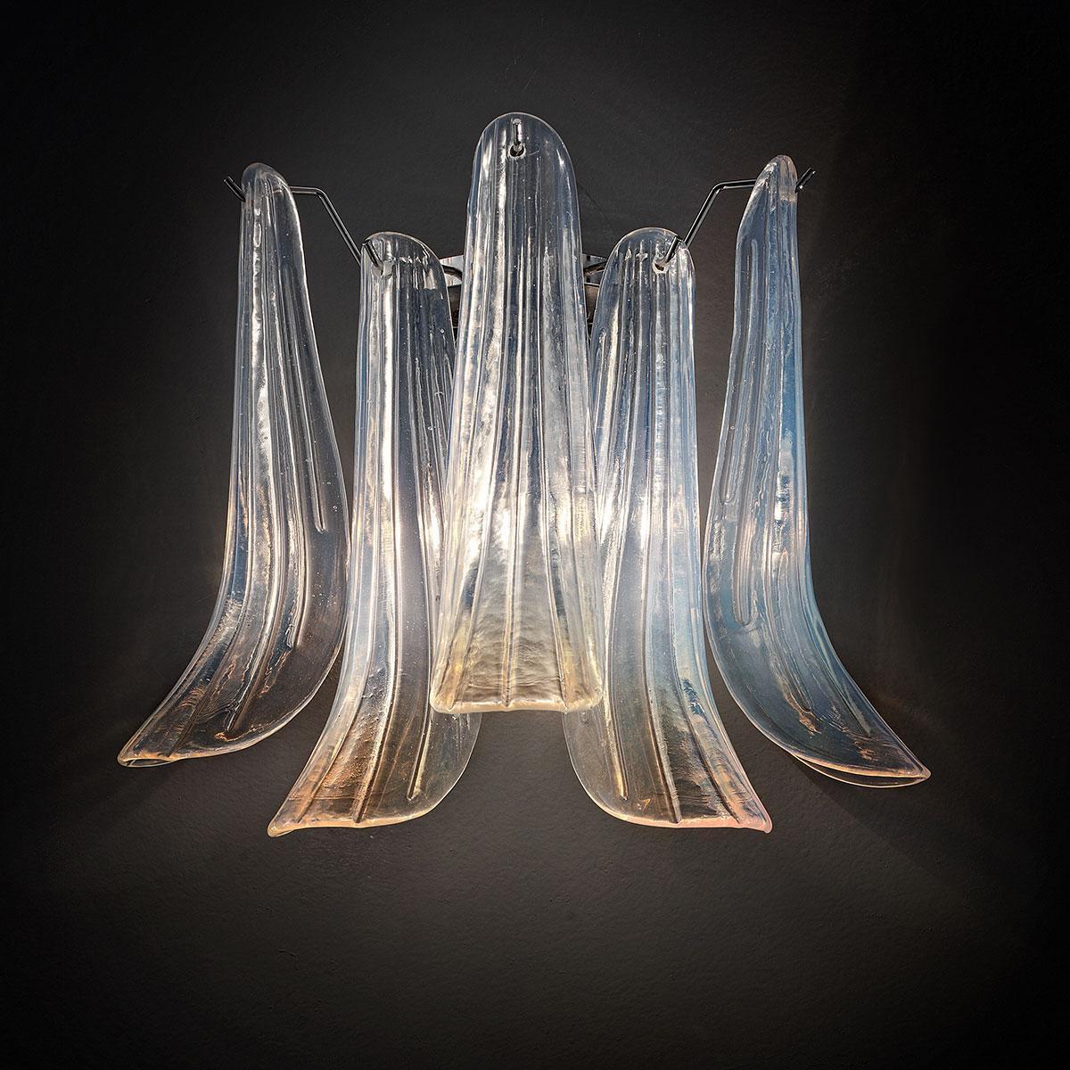 """""""Mildred"""" Murano glas wandleuchte - 2 flammig - opal und chrom"""