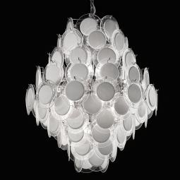 """""""Melody"""" Murano glass chandelier - 12 lights - white and chrome"""