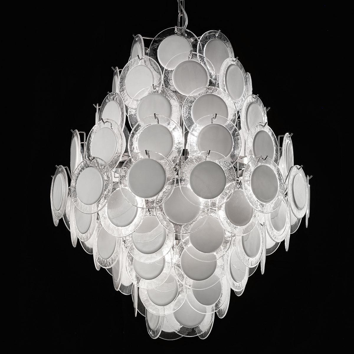 """""""Melody"""" lustre en cristal de Murano - 12 lumières - blanc et chrome"""