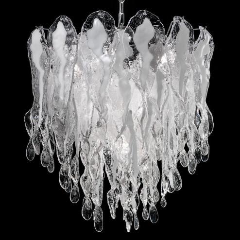 """Natalie"" Murano glass chandelier - 7 lights - white and chrome"