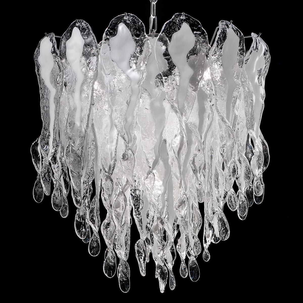 """""""Natalie"""" lustre en cristal de Murano - 7 lumières - blanc et chrome"""