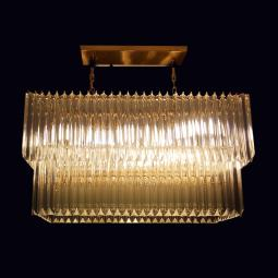 """Anita"" Murano glass chandelier - 10 lights - transparent and 24K gold"