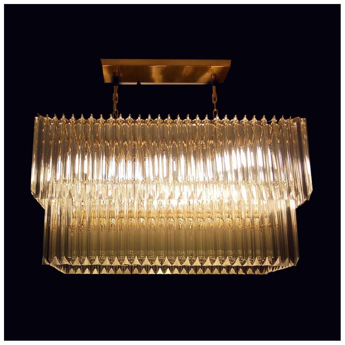 """Anita"" lustre en cristal de Murano - 10 lumières - transparent et or 24 carats"