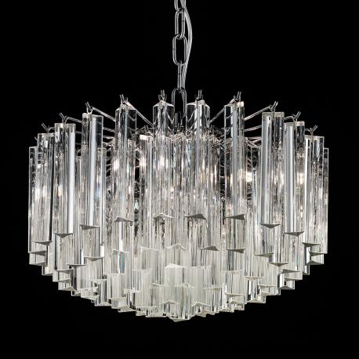 """""""Reginetta"""" lustre en cristal de Murano - 4 lumières - transparente et chrome"""