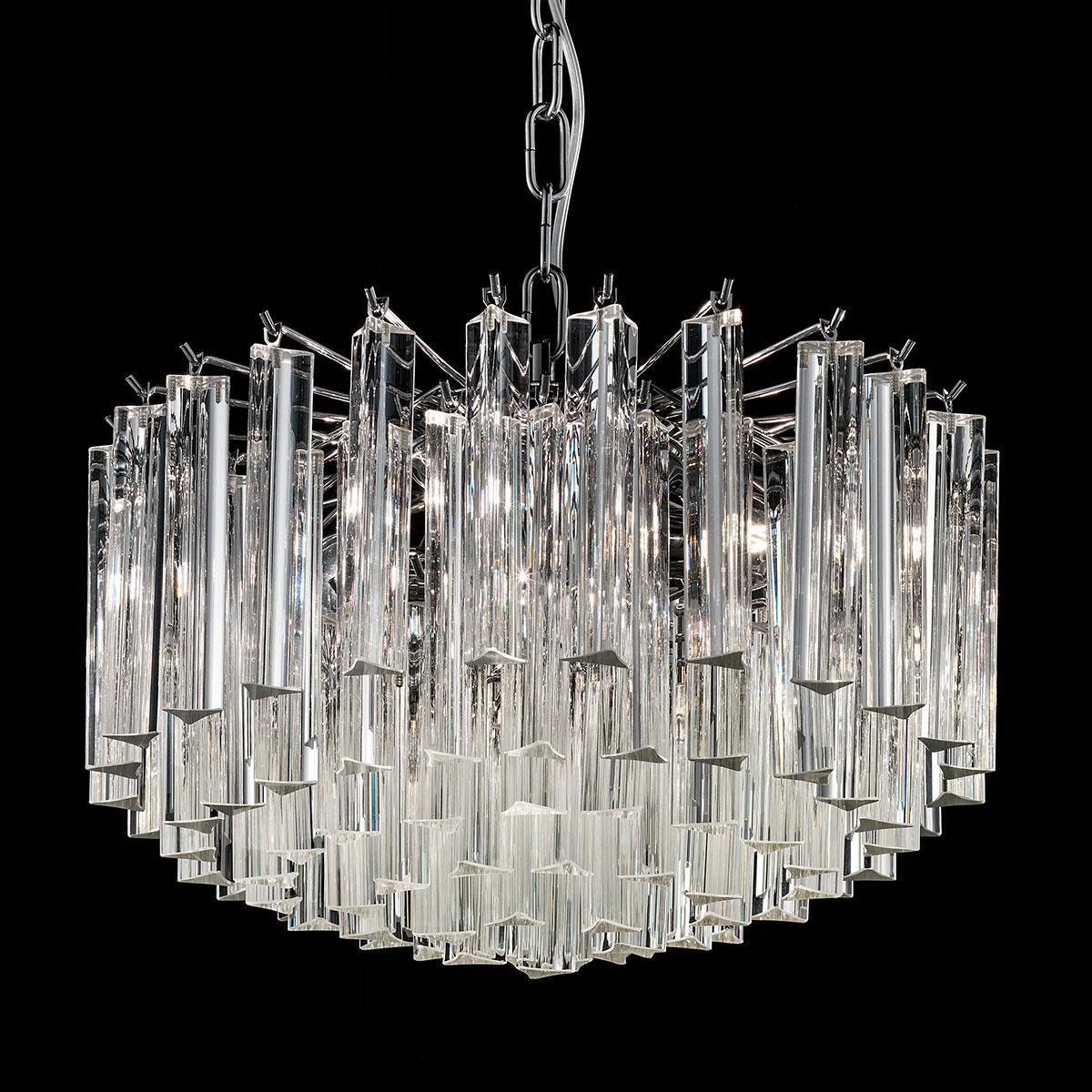 """Reginetta"" Murano glass chandelier - 4 lights - transparent and chrome"