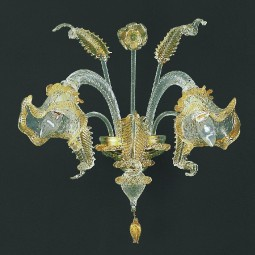 Canal Grande 2 lights Murano sconce transparent gold color