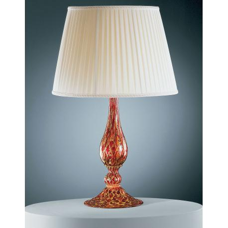 """Talia"" Murano glass table lamp - 1 light - red and gold"