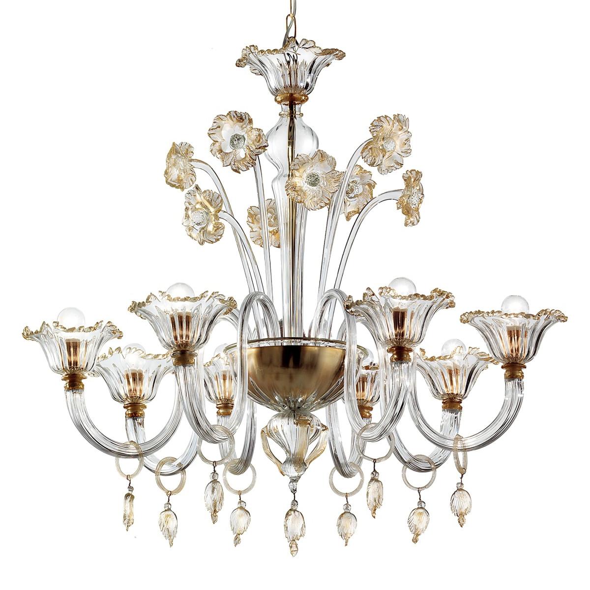 Novecento 8 lumières lustre Murano - couleur transparent or