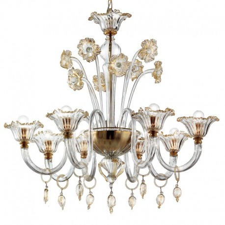Novecento 8 lights Murano chandelier - transparent gold color