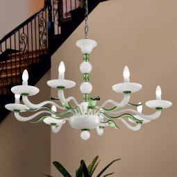 """""""Hypnos"""" Murano glass chandelier - 8 lights - white and green"""