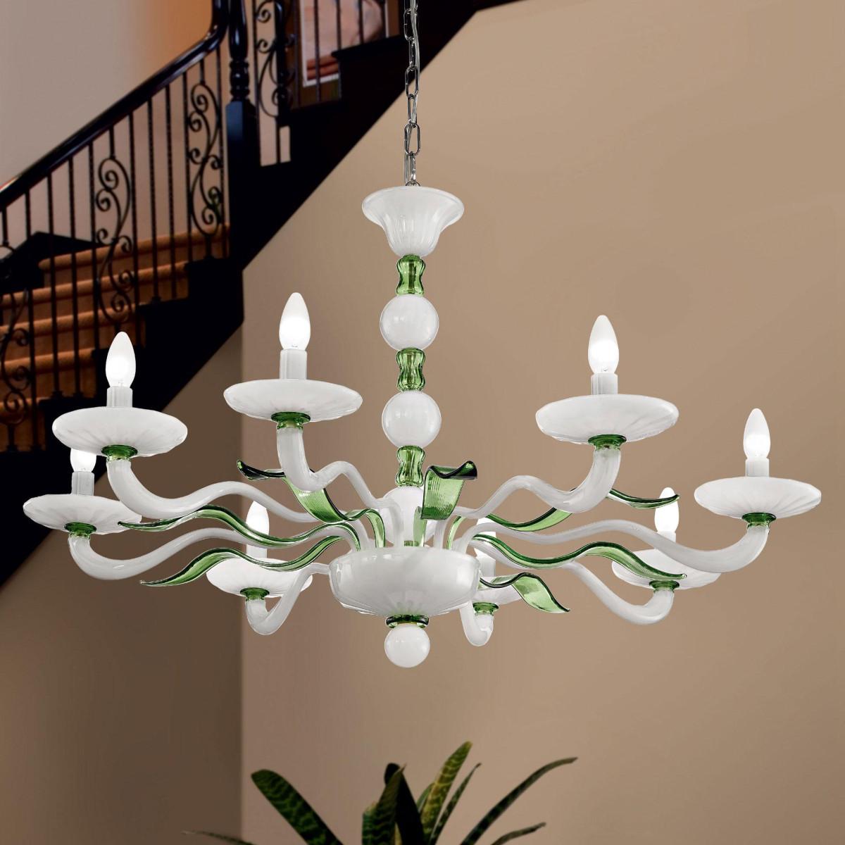 """""""Hypnos"""" lampara de araña de Murano - 8 luces - blanco y verde"""