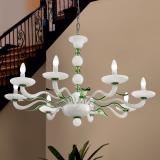 """Hypnos"" Murano glass chandelier - 8 lights - white and green"