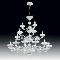 """""""Hypnos"""" two tier Murano glass chandelier - 12+6+3 lights - white and transparent"""