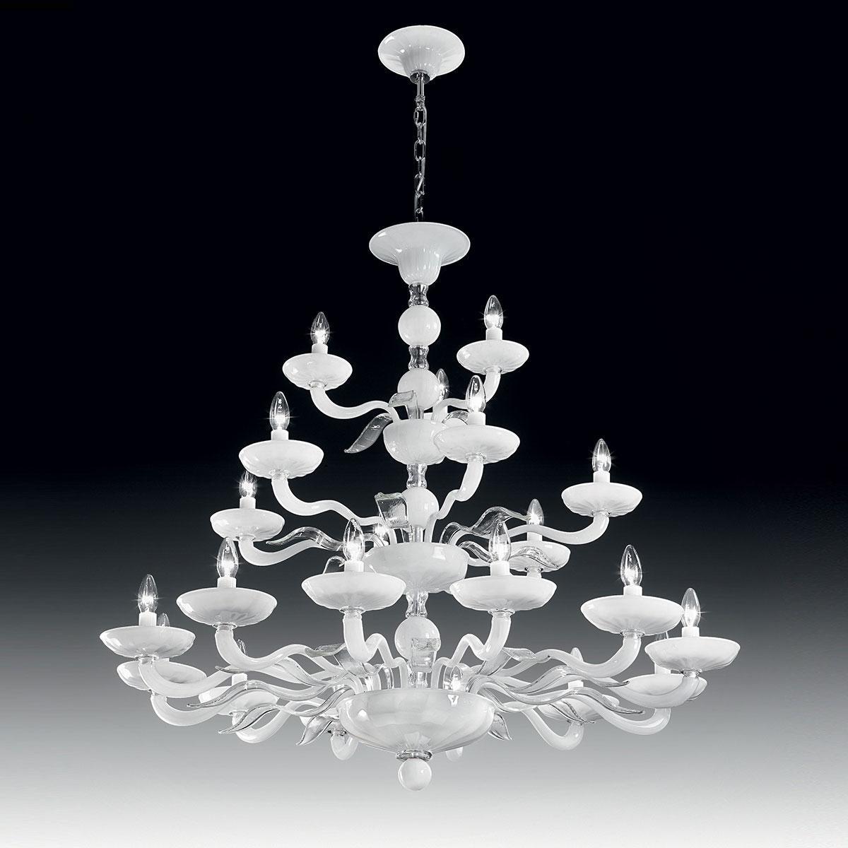 """Hypnos"" lampara de araña de Murano dos niveles - 12+6+3 luces - blanco y transparent"