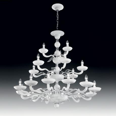 """Hypnos"" two tier Murano glass chandelier - 12+6+3 lights - white and transparent"