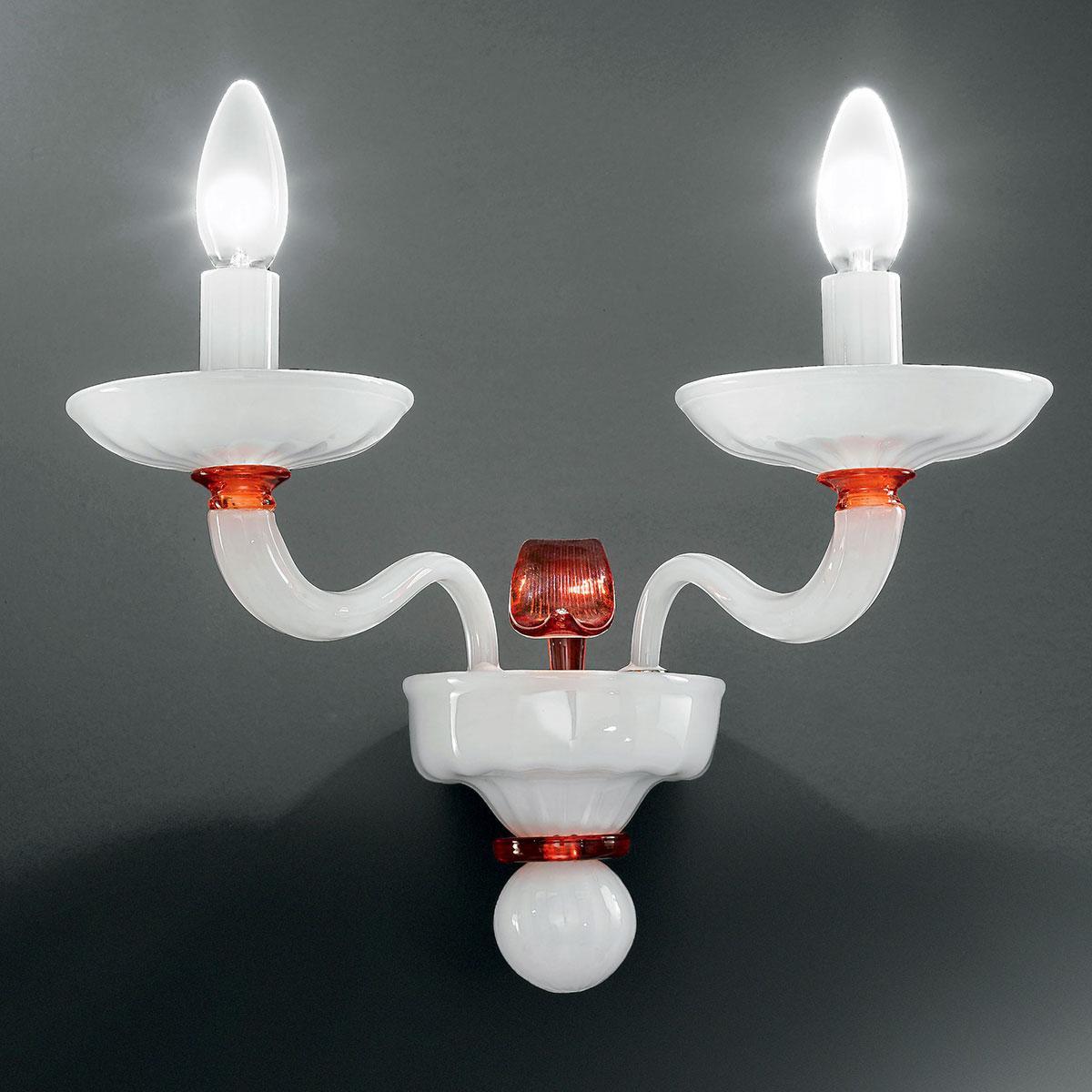 """""""Hypnos"""" applique en verre de Murano - 2 lumières - blanc et orange"""