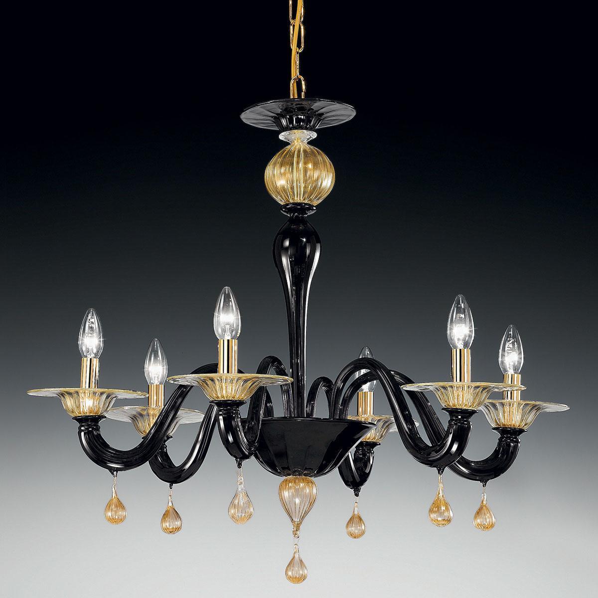 """Cabiri"" lampara de araña de Murano - 6 luces - negro y oro"