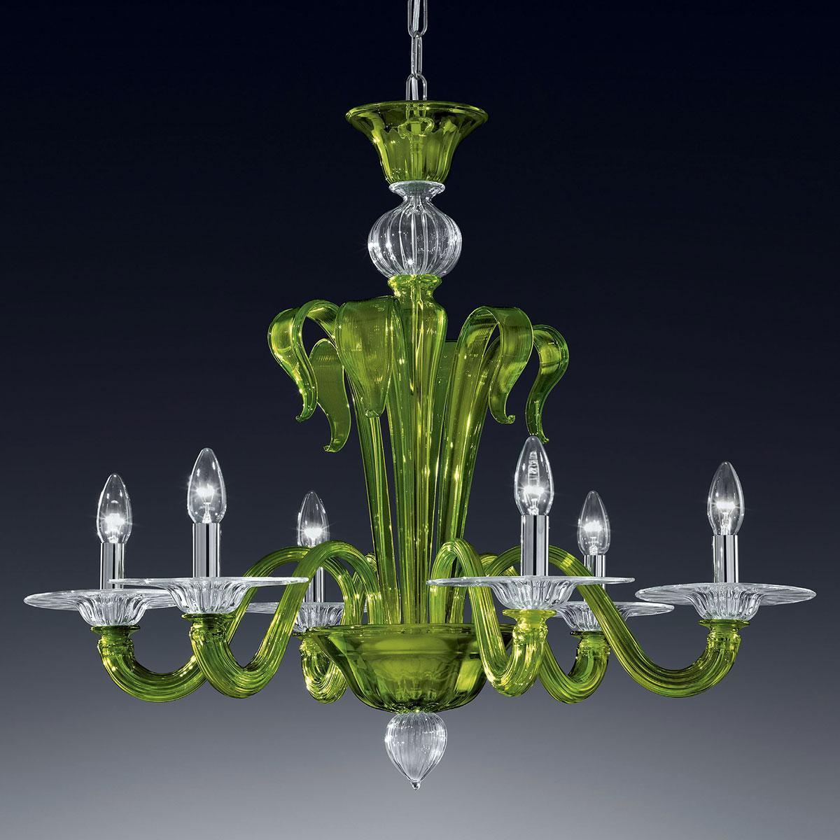 """""""Etere"""" Murano glas Kronleuchter - 6 flammig - grün und transparent"""