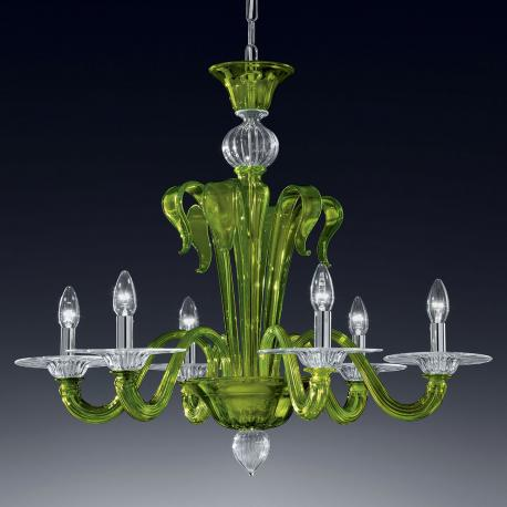 """Etere"" Murano glass chandelier - 6 lights - green and transparent"