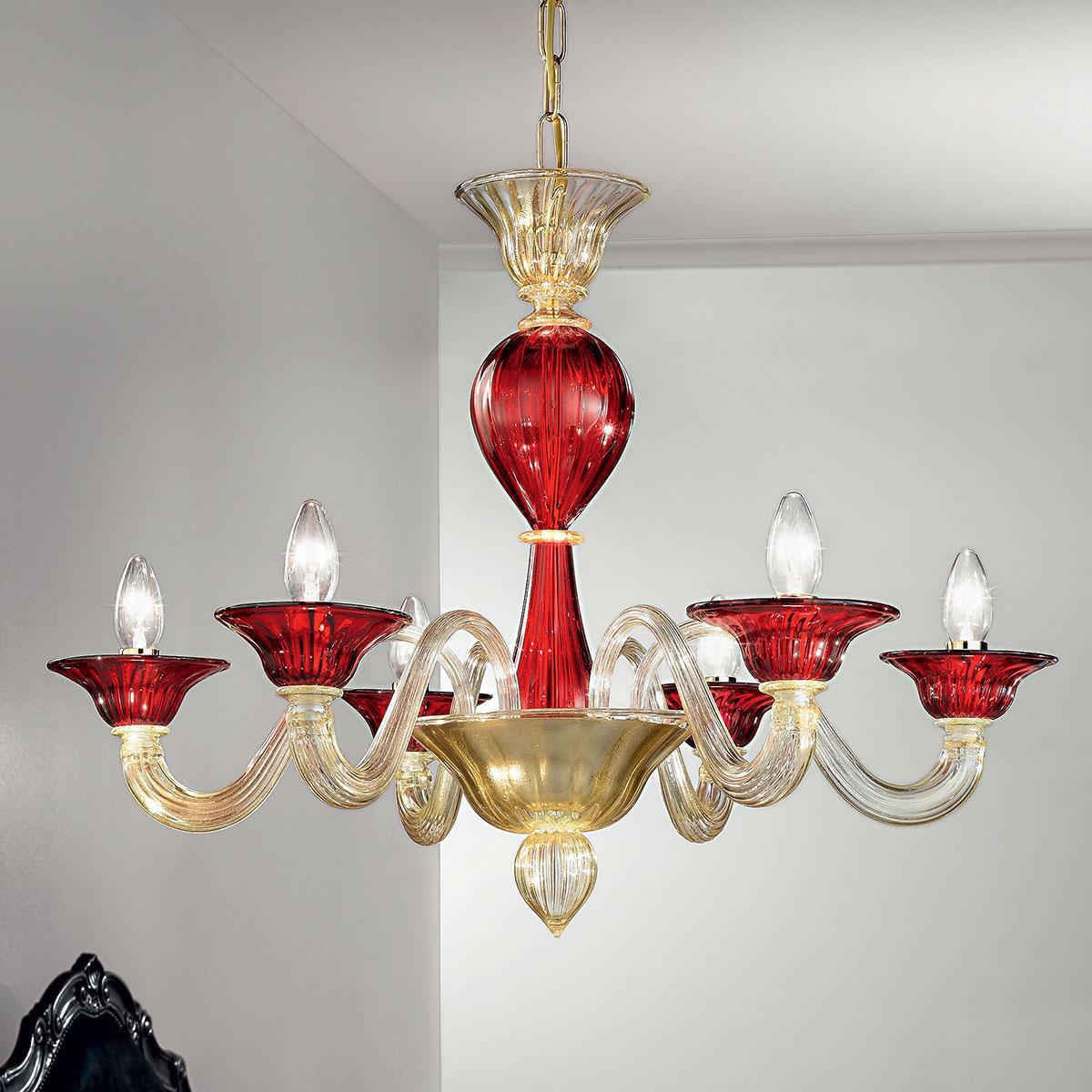 """""""Ermes"""" lampara de araña de Murano - 6 luces - oro y rojo"""